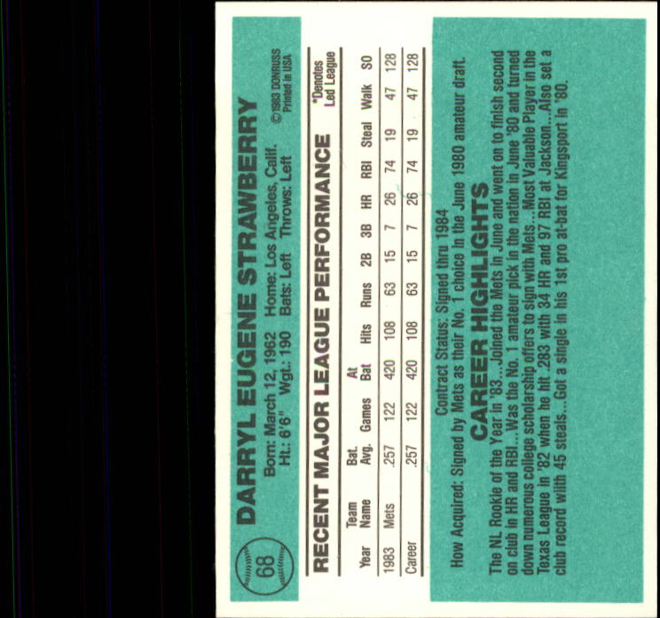 1984 Donruss #68 Darryl Strawberry RC back image