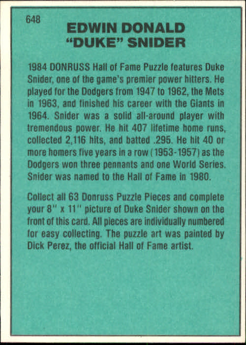1984 Donruss #648 Duke Snider/Puzzle Card