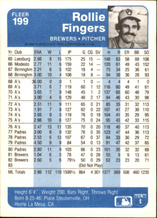 1984 Fleer #199 Rollie Fingers
