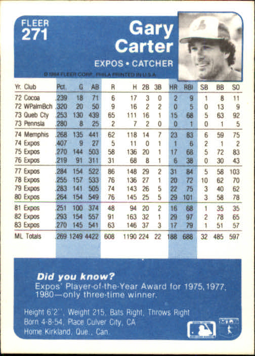 1984 Fleer #271 Gary Carter back image