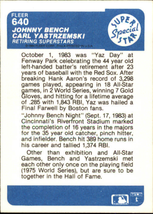 1984 Fleer #640 J.Bench/C.Yastrzemski back image