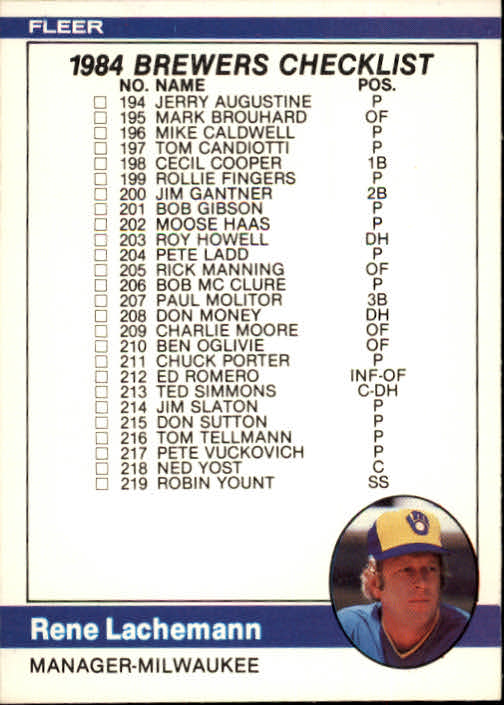 1984 Fleer #655 CL: Brewers/Indians/Rene Lachemann MG