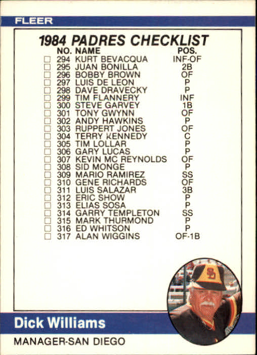 1984 Fleer #659 CL: Padres/Specials/Dick Williams MG