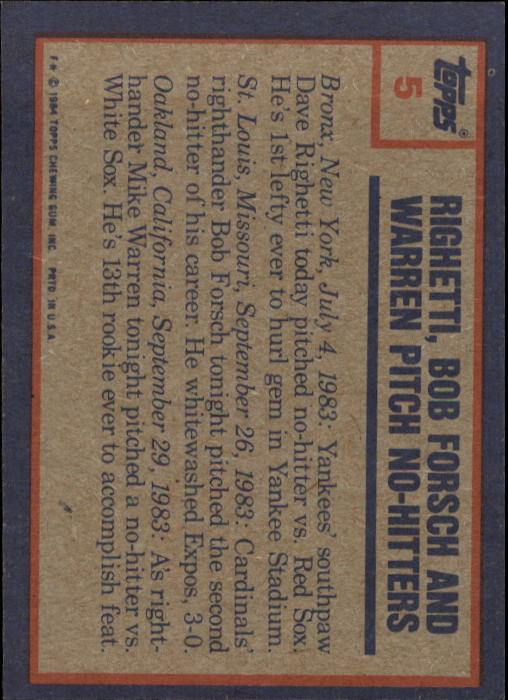 1984 Topps #5 Dave Righetti&/Bob Forsch&/and Mike Warren HL/( back image