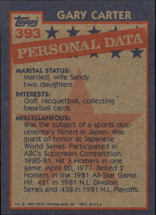 1984 Topps #393 Gary Carter AS