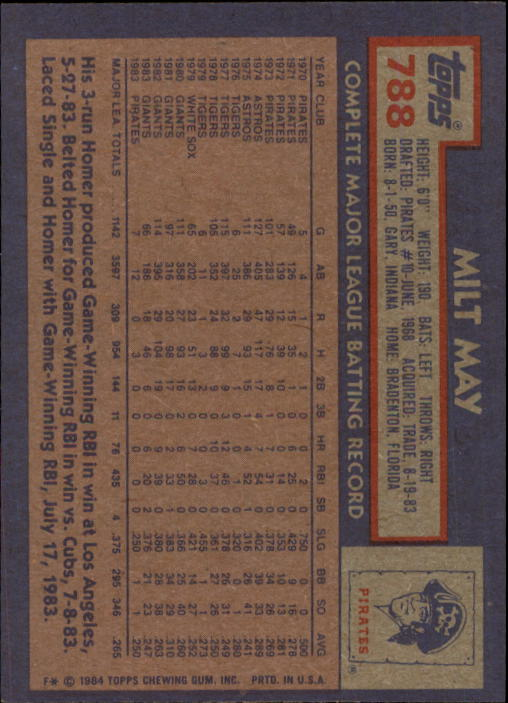 1984 Topps #788 Milt May back image