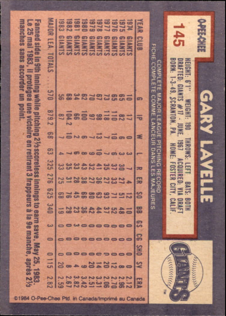 1984 O-Pee-Chee #145 Gary Lavelle back image