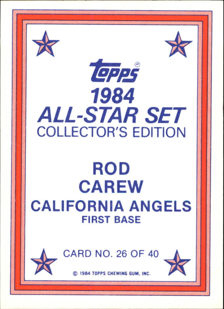 1984 Topps Glossy Send-Ins #26 Rod Carew back image