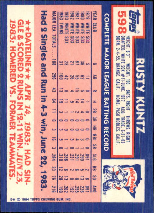 1984 Topps Tiffany #598 Rusty Kuntz back image