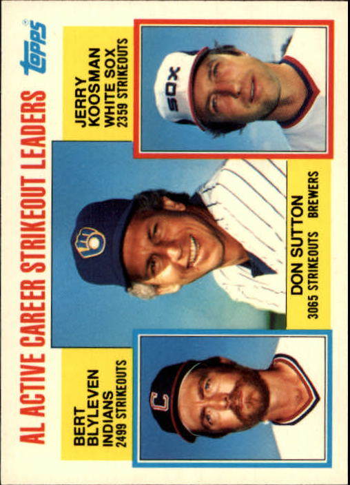 1984 Topps Tiffany #716 AL Active Strikeout/Don Sutton/Bert Blyleven/Je