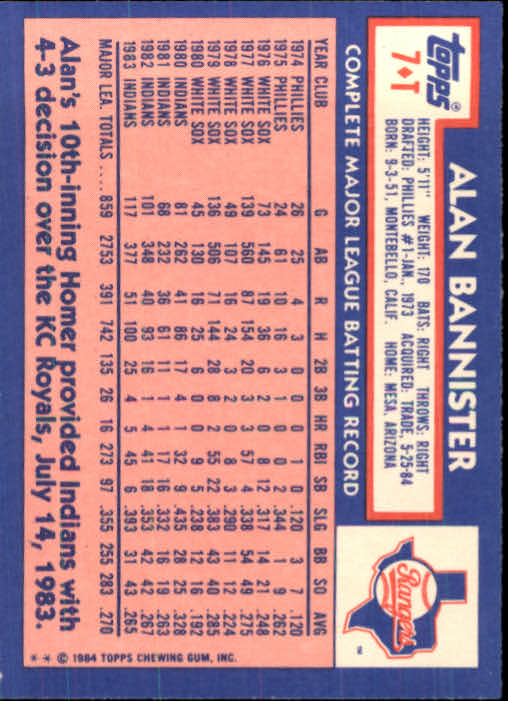 1984 Topps Traded #7T Alan Bannister back image