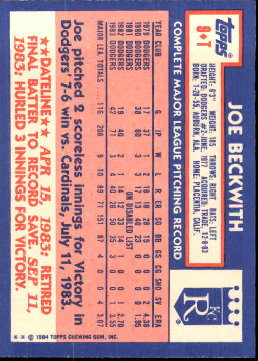 1984 Topps Traded #9T Joe Beckwith