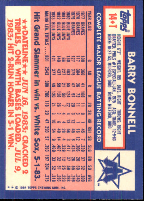 1984 Topps Traded #14T Barry Bonnell back image