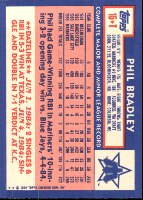 1984 Topps Traded #15T Phil Bradley XRC back image