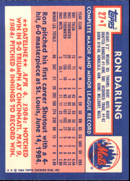 1984 Topps Traded #27T Ron Darling XRC back image