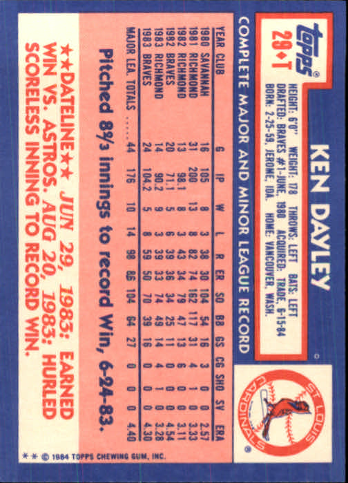 1984 Topps Traded #29T Ken Dayley back image