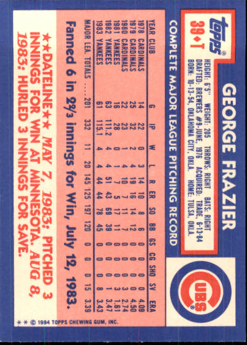1984 Topps Traded #39T George Frazier back image