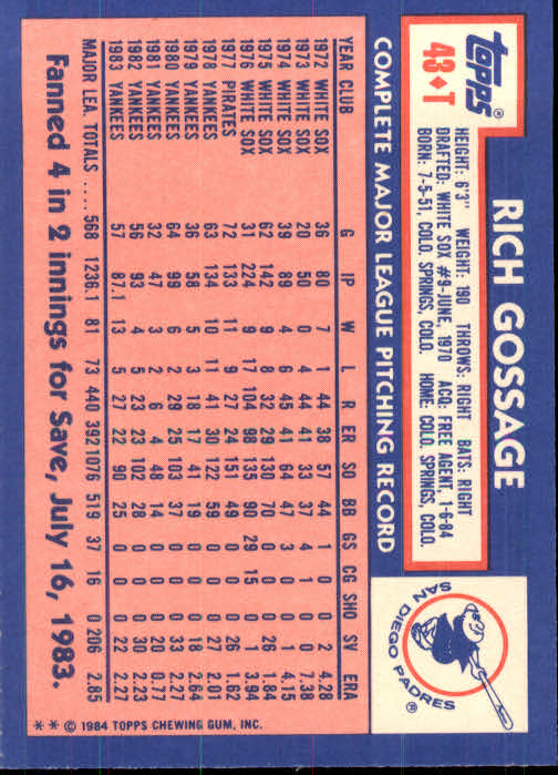 1984 Topps Traded #43T Rich Gossage back image