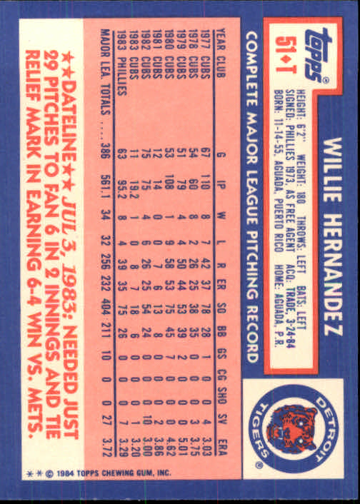 1984 Topps Traded #51T Willie Hernandez back image