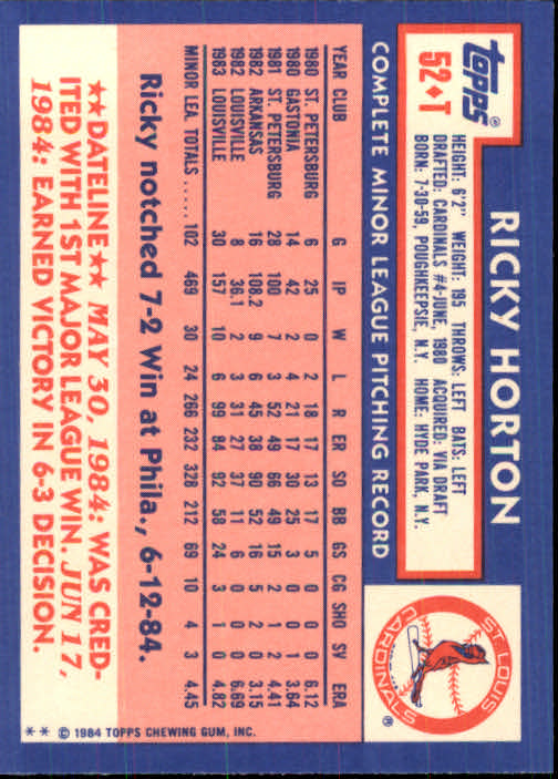 1984 Topps Traded #52T Ricky Horton XRC back image