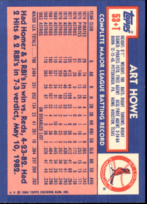1984 Topps Traded #53T Art Howe back image