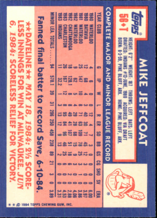 1984 Topps Traded #56T Mike Jeffcoat XRC back image