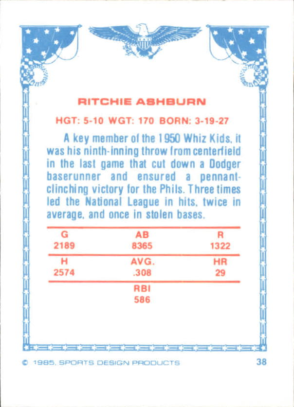 1984-85 Sports Design Products West #38 Richie Ashburn UER/Spelled Ritchie back image