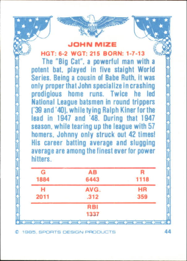 1984-85 Sports Design Products West #44 Johnny Mize back image