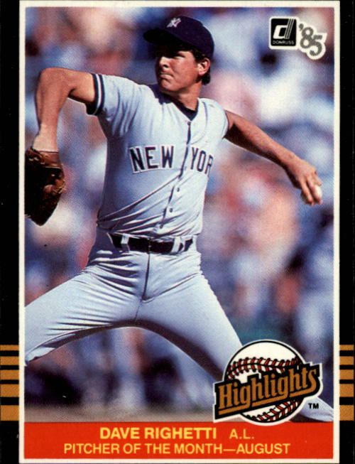 1985 Donruss Highlights #37 Dave Righetti