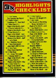 1985 Donruss Highlights #NNO Checklist Card
