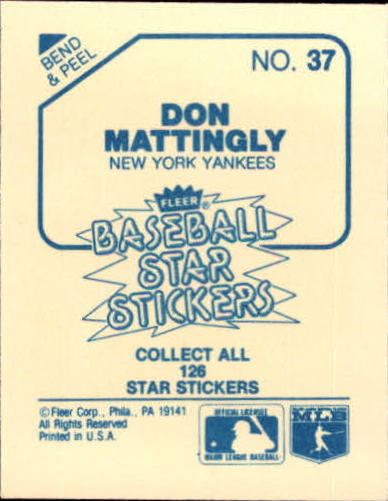 1985 Fleer Star Stickers #37 Don Mattingly back image
