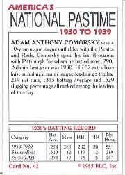 1985 Big League Collectibles 30s #42 Adam Comorsky back image