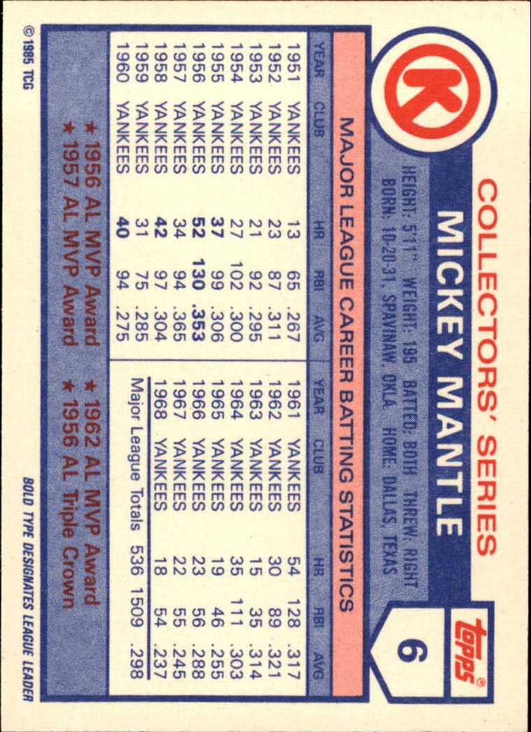 1985 Circle K #6 Mickey Mantle