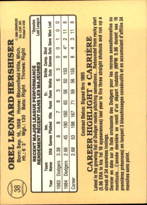 1985 Leaf/Donruss #38 Orel Hershiser RC