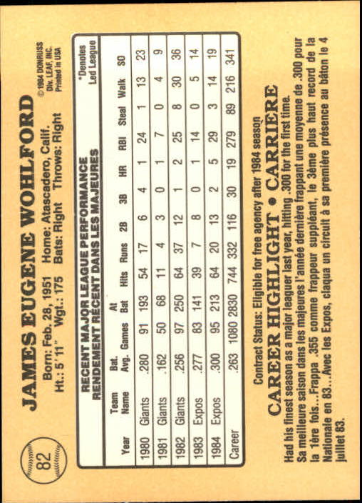 1985 Leaf/Donruss #82 Jim Wohlford back image