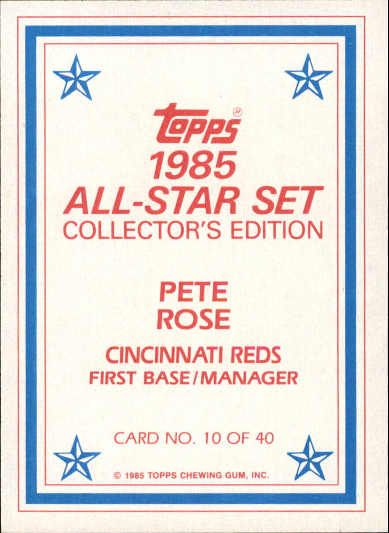 1985 Topps Glossy Send-Ins #10 Pete Rose back image