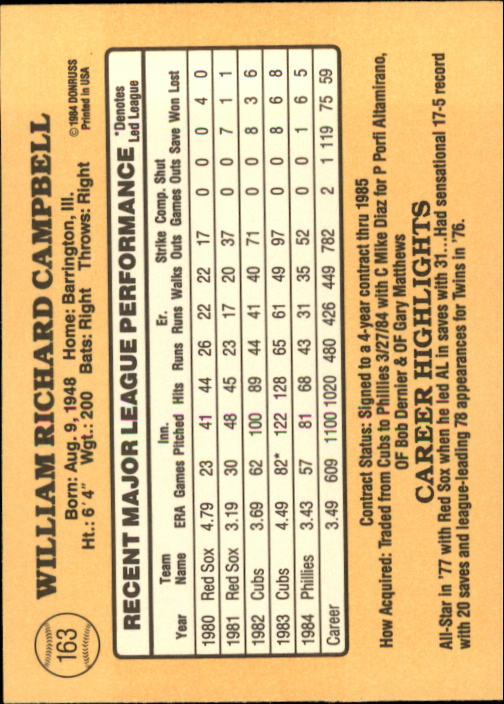 1985 Donruss #163 Bill Campbell back image