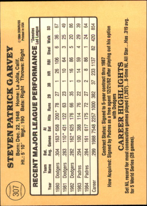 1985 Donruss #307 Steve Garvey back image