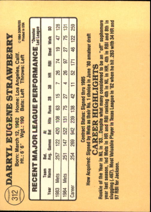 1985 Donruss #312 Darryl Strawberry back image