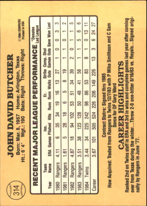 1985 Donruss #314 John Butcher back image