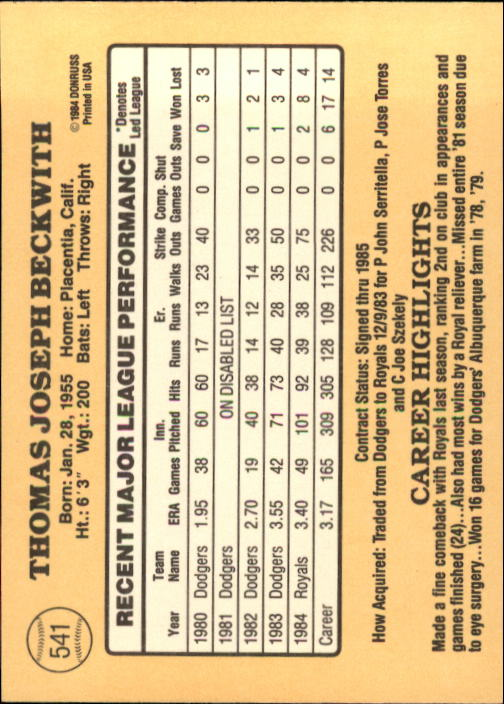 1985 Donruss #541 Joe Beckwith back image
