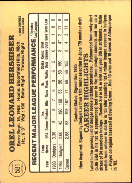 1985 Donruss #581 Orel Hershiser RC back image