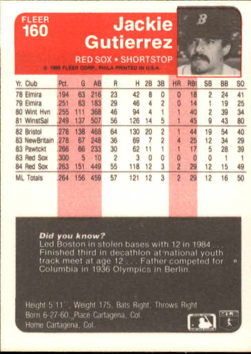 1985 Fleer #160 Jackie Gutierrez/Wade Boggs/shown on deck back image