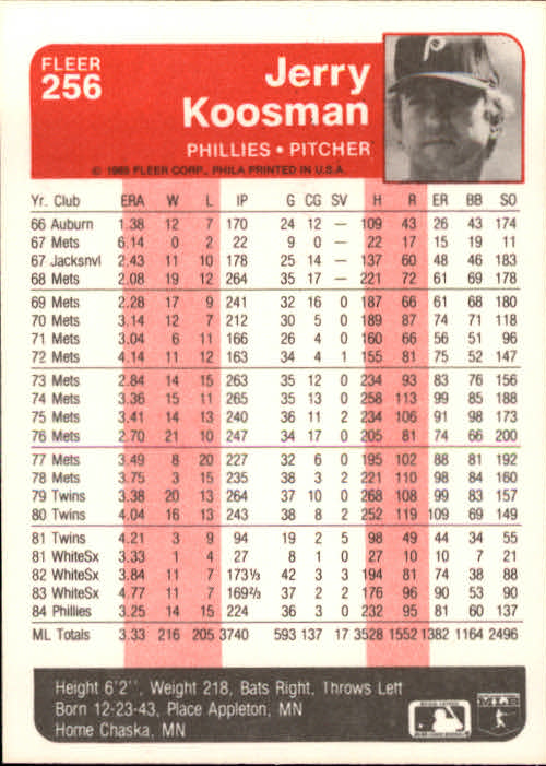 1985 Fleer #256 Jerry Koosman