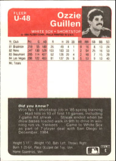 1985 Fleer Update #48 Ozzie Guillen XRC back image