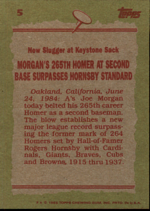 1985 Topps #5 Joe Morgan RB back image