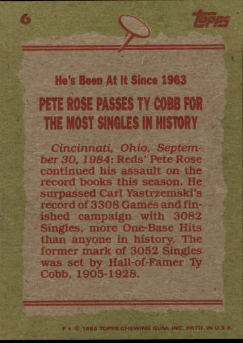 1985 Topps #6 Pete Rose RB back image