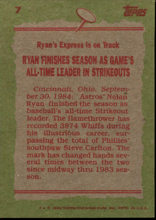 1985 Topps #7 Nolan Ryan RB back image