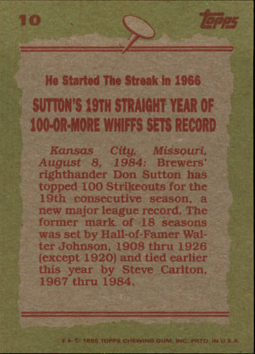 1985 Topps #10 Don Sutton RB back image