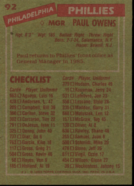 1985 Topps #92 Paul Owens MG back image